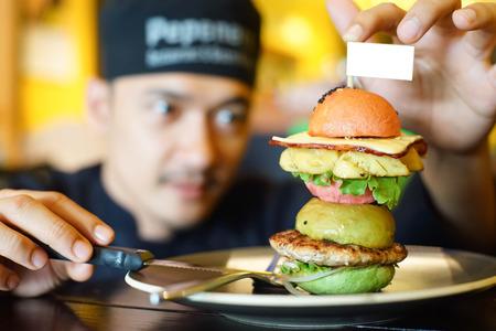intentionally: chef arrange  burger  intentionally Stock Photo