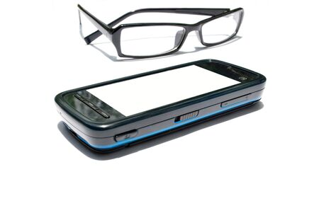 Clear eye glass and  telephone Stock Photo - 12408917