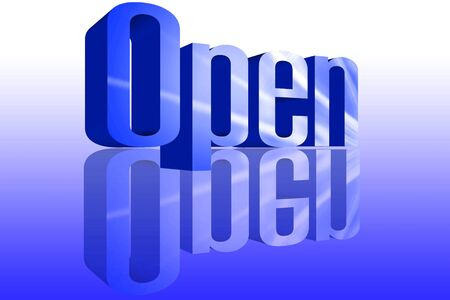 unbar: 3D Open with a reflection founts Stock Photo