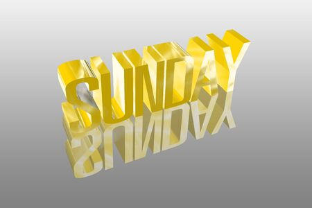 3D sunday with a reflection founts