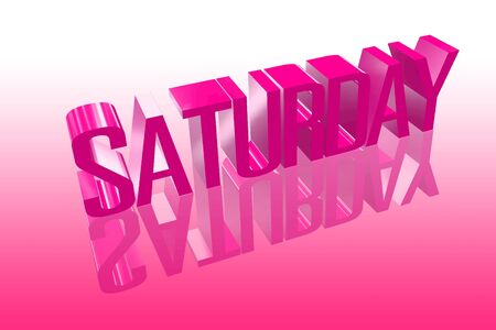 saturday: 3D saturday with a reflection founts Stock Photo