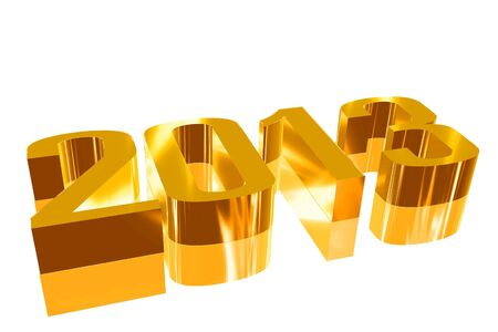 3D 2013  with a reflection founts Stock Photo - 16257439