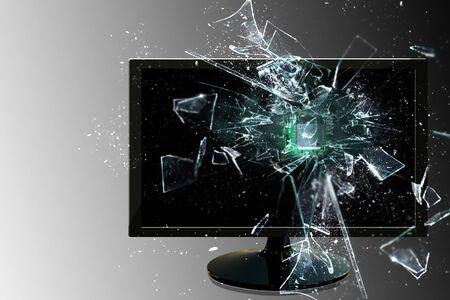 Burst through the screen Stock Photo - 17174318
