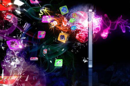emanate: Spread phone icon 3d Stock Photo