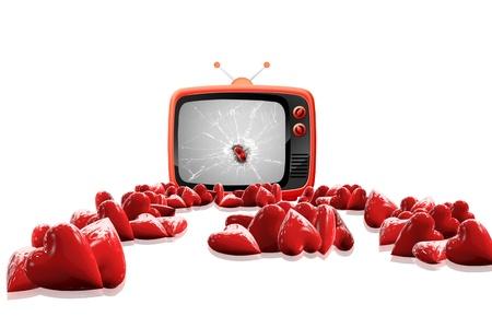 Heart TV Stock Photo