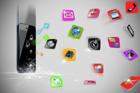 emanate: Falls 3D phone hitting the ground makes the icons spread out Stock Photo