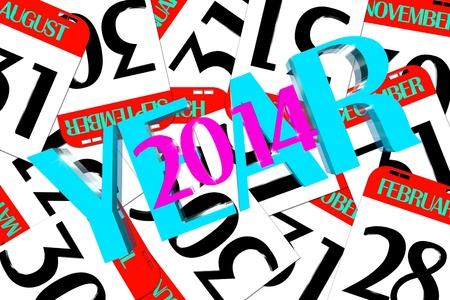 Year 2014 calendar small enclosed photo