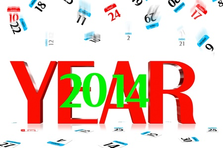 3D Year 2014 Calendar icon is dropped from the top Stock Photo - 17799479