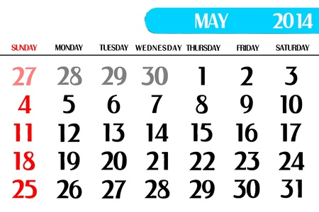 end month: 3D calendar table of May Stock Photo