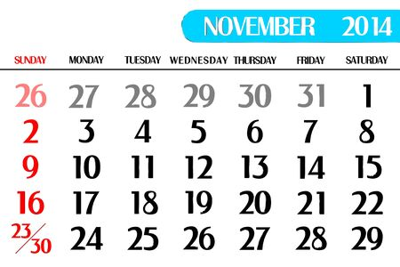 3D calendar table of November Stock Photo - 17800333
