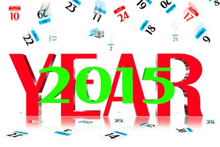 3D Year 2015 Calendar icon is dropped from the top Stock Photo - 17800346