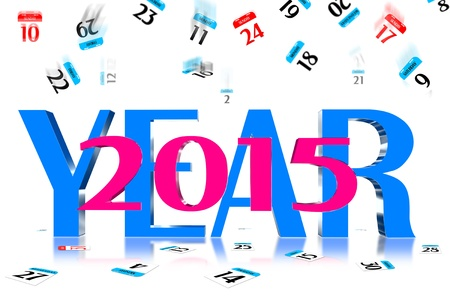 3D Year 2015 Calendar icon is dropped from the top Stock Photo - 17800347