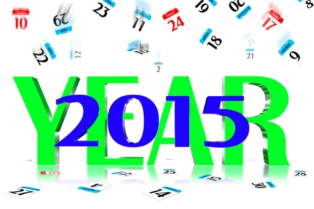 3D Year 2015 Calendar icon is dropped from the top Stock Photo - 17800345
