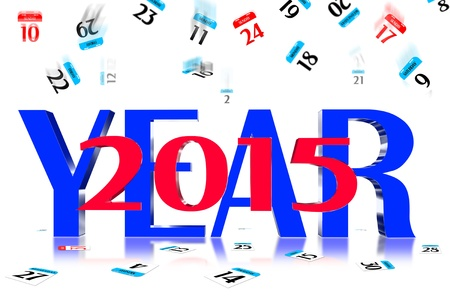 3D Year 2015 Calendar icon is dropped from the top Stock Photo - 17800348