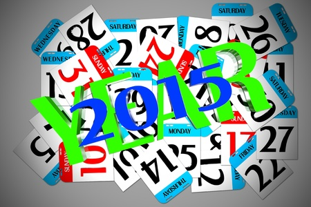 Year 2015 calendar small enclosed Stock Photo - 17800351