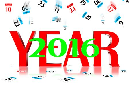 end month: 3D Year 2016 Calendar icon is dropped from the top
