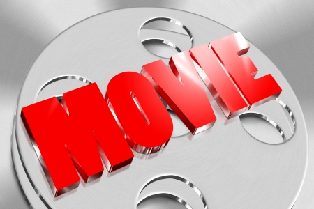 Three-dimensional movie of red on the roll of film Stock Photo - 17930623
