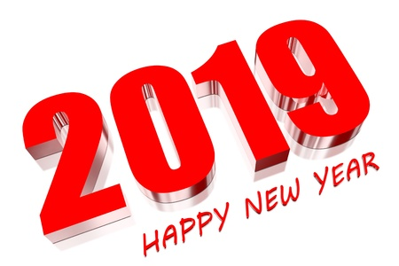 3D Happy new year 2019 photo