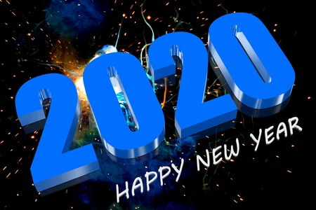 3D Frohes neues Jahr 2020