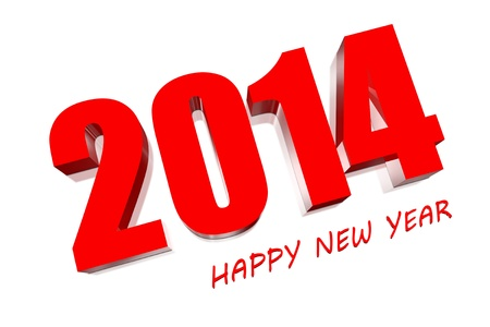 3D Happy new year 2014 photo