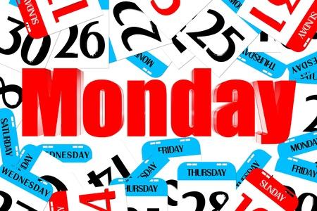 Drei Dimensionen Farbe rot Montag