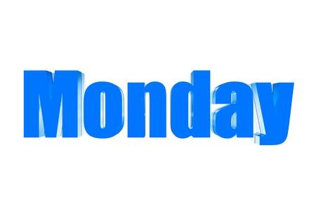 Three dimensions color blue Monday