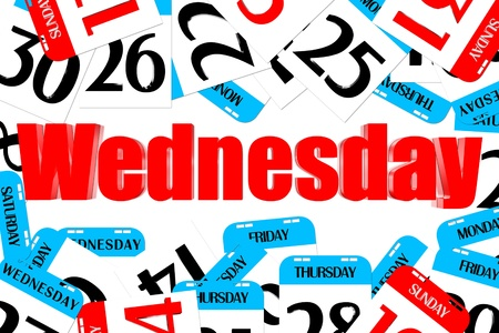 Three dimensions color red Wednesday