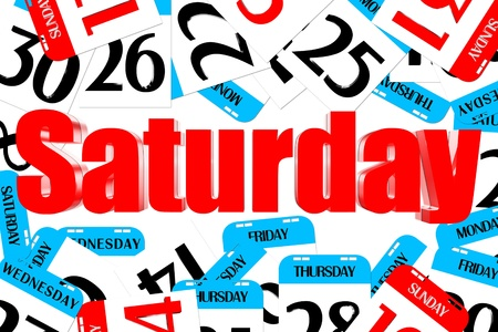 Three dimensions color red Saturday