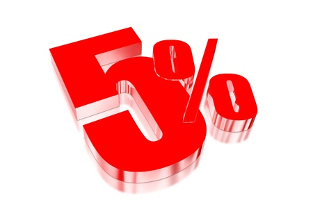 injurious: 5 percent discount on three-dimensional Stock Photo