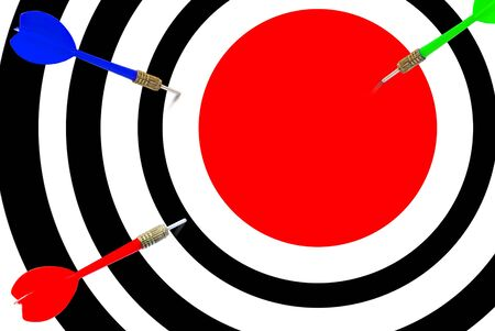Target with three darts in the center of the red color photo