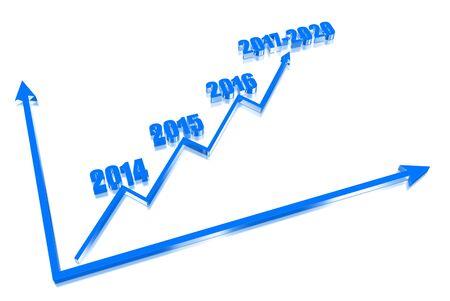 Dreidimensionale Grafik zeigt das Wachstum der Wirtschaft jedes Jahr Lizenzfreie Bilder