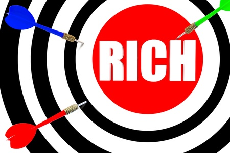 Three dimensional target with the word rich in the middle photo