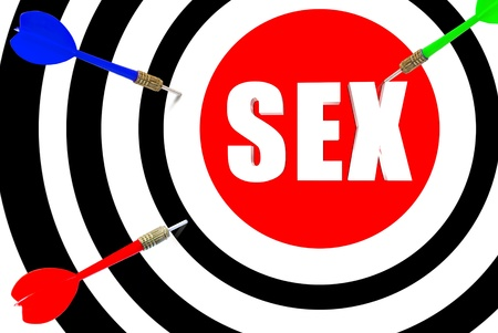 Three dimensional target with the word sex in the middle Stock Photo