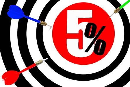 injurious: Next target  The increase in profits is 5 percent  Stock Photo