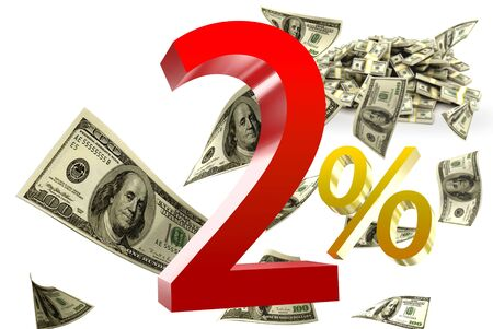 2 percent has the dollar as the background Stock Photo - 19417707