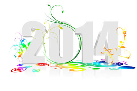 specify: Annum to 2014 with white flowers around it Stock Photo