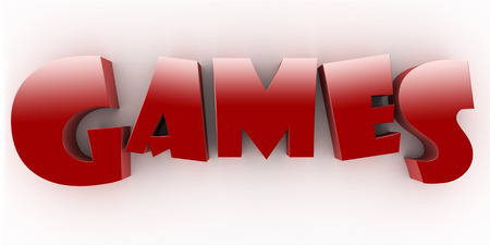 Three Dimensional Games Red Letters White background