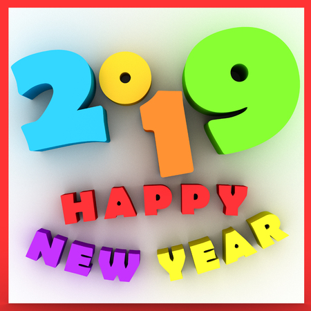 Happy new year 2019 Three-dimensional Cartoon.