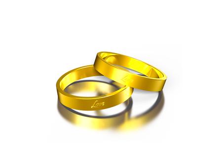 Dos anillos de oro 3d, anillo de oro, anillos de 2 círculos.
