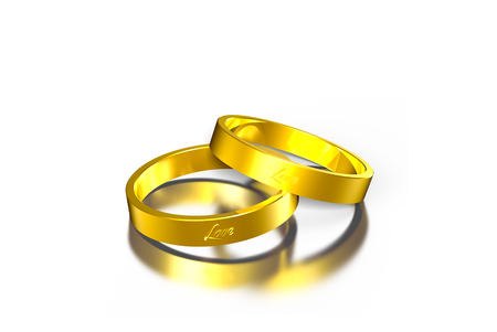 Two gold rings 3d,gold ring,2 circles rings. Stock Photo