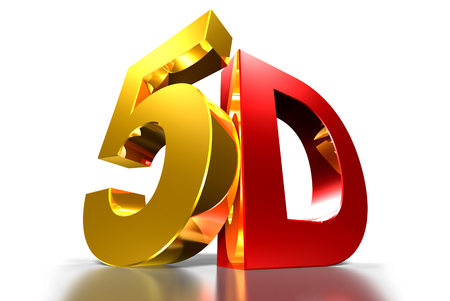 5D gold,5D red,Three-dimensional white background,Three-dimensional system,Movie modern system.