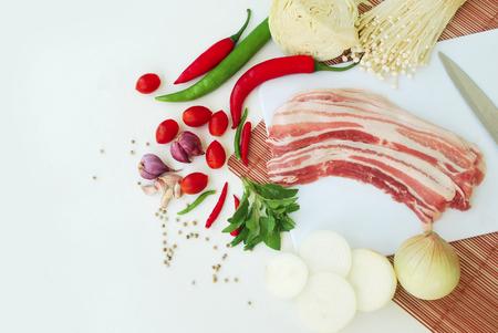 Background is vegetable.Thai food ingredients