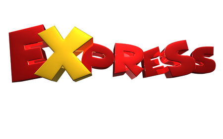 EXPRESS 3D rendering on white background.With Clipping Path.
