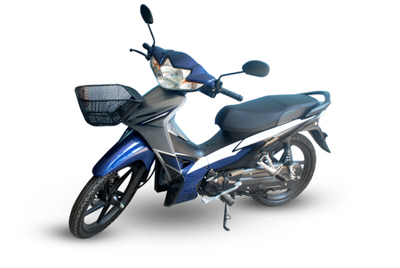 Blue motorcycle on white background.