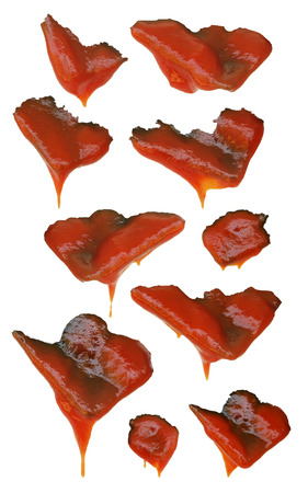 Tomato sauce stains on white background.(with Clipping Path)