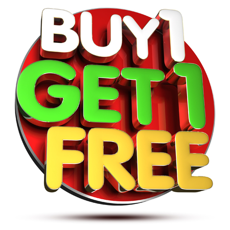 Buy 1 Get 1 Free 3D rendering on white background.