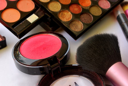 Makeup accessories for beautician is bright color.