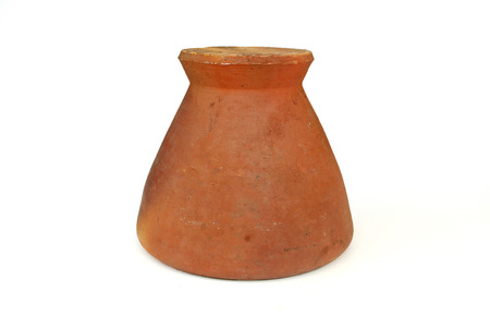 Thai clay mortar for the famous Thai Som Tam salad on white background.