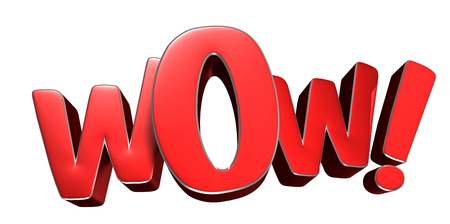 Wow red 3D rendering on white background. Stock fotó