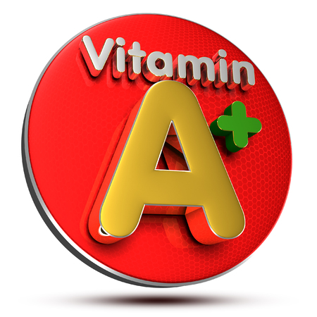 Vitamin A 3D rendering on white background.(with Clipping Path).